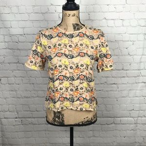 [Zara] Lace and Embroidered Short Sleeve Blouse